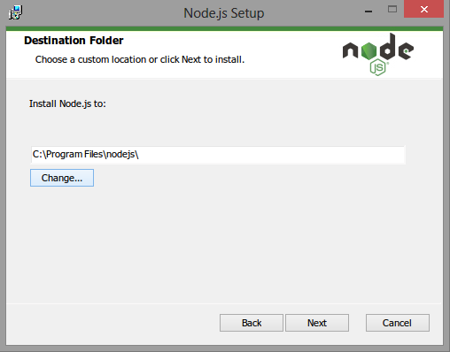 NodeJS destination folder
