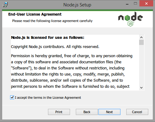 NodeJS end user license agreement