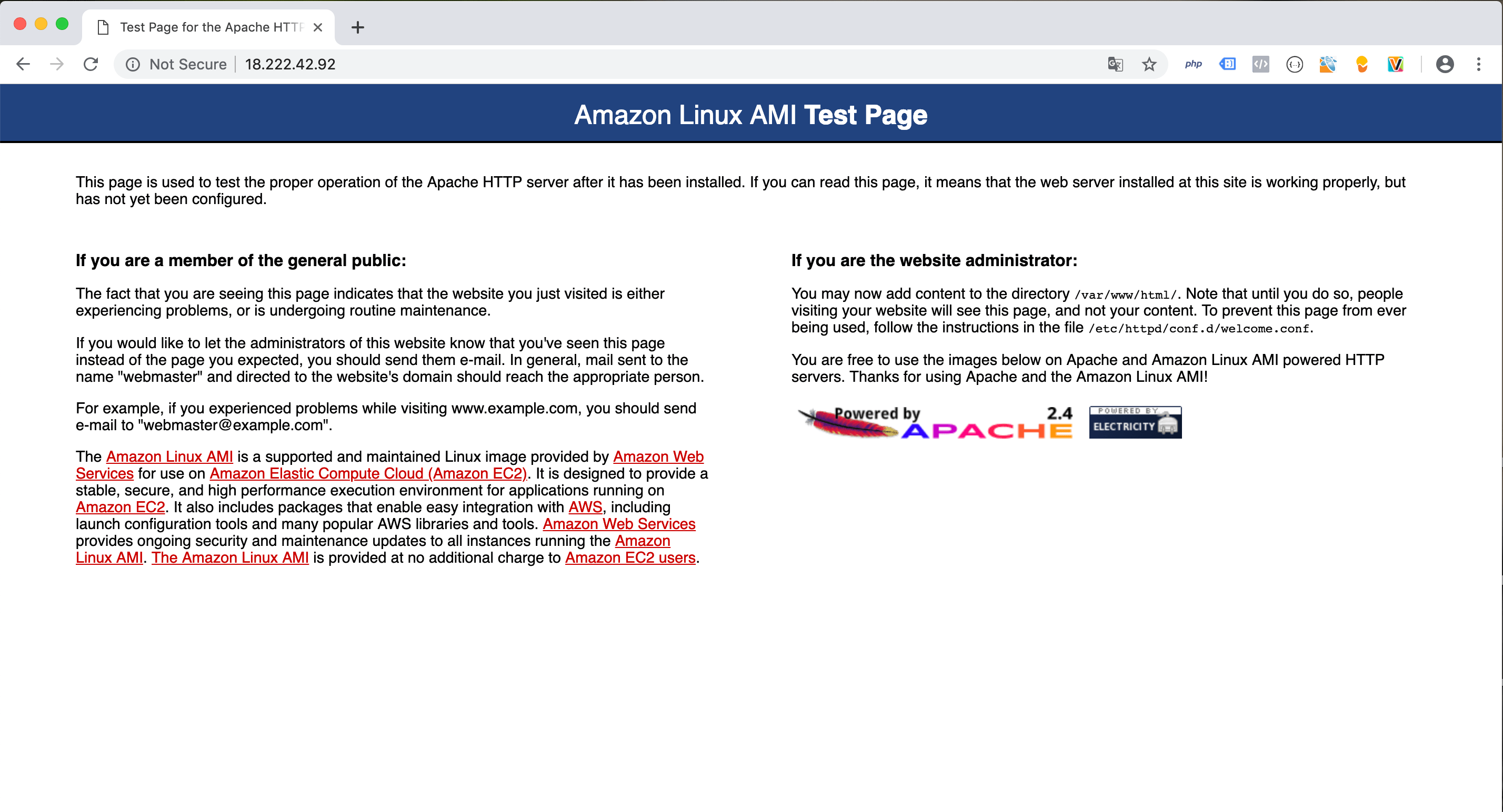 Akses IP AWS di browser